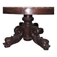 19th Century French Renaissance Coffee Table, Dolphin Legs, Oak