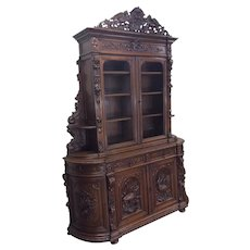Stately St. Hubert Antique French Hunt Cabinet, Oak, 19th Century