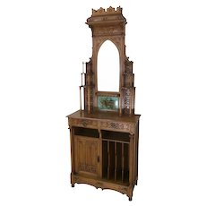 Outstanding European Gothic Music Cabinet, Made in Spain, 19th Century, Oak