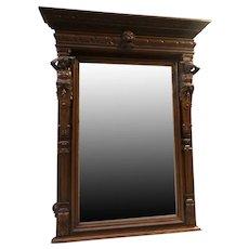 Large French Renaissance Antique Mirror, 19th Century