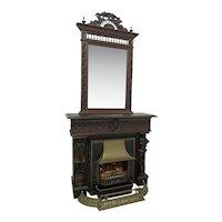 Antique French Breton Fireplace Mantel, Mirror, Fender, Insert, Oak, 19th Century