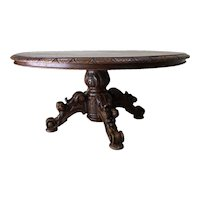 19th Century Antique French Hunt Coffee Table, Oak