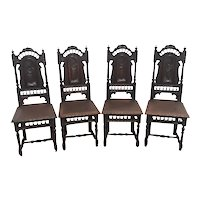Set of Four French Breton Dining Chairs, Pressed Leather Seats, 1920's
