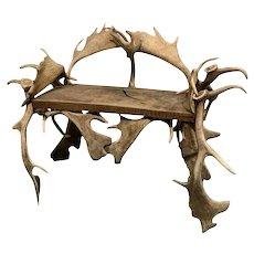 Eclectic Antique Horn Bench, Fallow Deer Horns, Taxidermy, 1920's