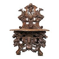 Top Notch Antique French Renaissance Scabello Chair, Bench, Gargoyles, Dragons,  19th Century