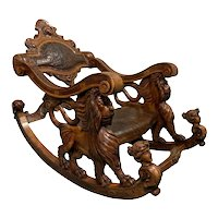 Whimsical 19th Century Italian Rocking Chair, Lion Carvings