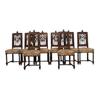 Set of Eight (8 ) Antique French Gothic Dining Chairs, 19th Century, Oak