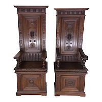 Pair of Renaissance Benches / Throne Chairs, His & Hers, 19th Century, Walnut