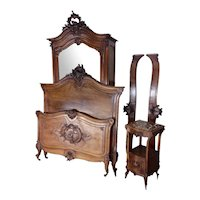 Lovely Antique French Bedroom, Bed, Armoire, Nightstand, Walnut, 19th Century