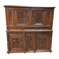 Outstanding Antique French Gothic Cabinet, Oak, 19th Century,  Great Quality
