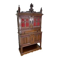 Showy Antique French Gothic Cabinet, Walnut, 19th Century, Tall Spires