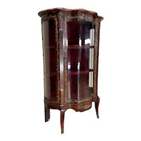 Classic Antique French Display Cabinet, Marble Top, Bronze Accents