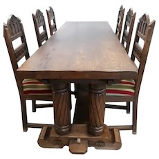 Primitive Antique French Gothic Dining Set,  Table & Six Chairs, 1920's, Oak