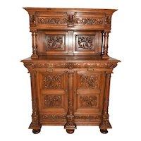 Antique French Cabinet, Server, Bar, 1920's, Oak