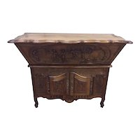 Antique French Provincial Dough Cabinet with Lower Server, Walnut, 1920's