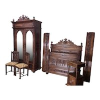 Antique French Gothic Bedroom, Bed, Armoire, Nightstand, 2 chairs, 19th Century, Walnut