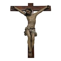 Turn of the Century Wooden Christ on Crucifix, French, Religious