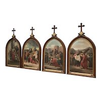 Stations of the Cross-Complete set of 14-Oil on Canvas, 19th Century, Religious 11238