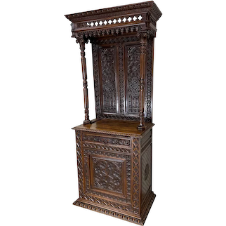 Heavily Carved French Gothic Cabinet, Hooded Top, 19th Century, Oak