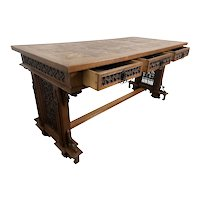Handsome French Gothic Desk, Great Carvings, 19th Century, Oak