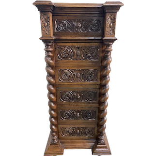 Tall Marble Top French Hunt Night Stand, Barley Twist, 19th Century, Oak, Pedestal