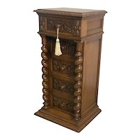 Antique French Hunt Night Stand, Oak, 19th Century, Barley Twist