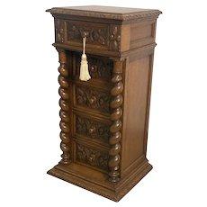 Antique French Hunt Night Stand, Oak, 19th Century, Barley Twist