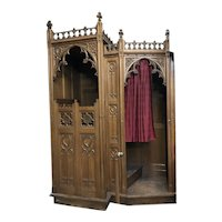 19th Century French Church Confessionals, Oak, Religious Church Furnishings