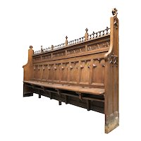 Antique French Gothic Church Choir Bench, 19th Century, Oak, Religious