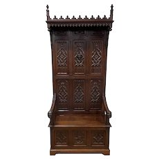 Wonderful Antique French Gothic Throne chair, Bishop Face Carvings, Oak, 19th Century
