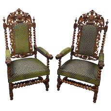 Showy French Hunt Arm Chairs, Barley Twist, Dragon Carvings, Oak, 19th Century