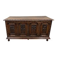 Antique French Oak Gothic Trunk, 19th Century, Medieval