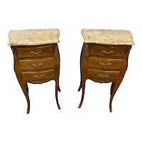 Attractive Pair of Petite French Walnut Night Stands, Marble Top, 1940's