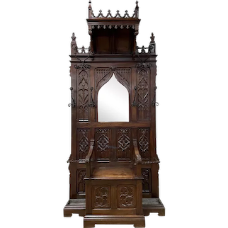 Throne Chair/ Bench / Hall Tree, Antique French Gothic Dating from 19th Century, Walnut, Hooded