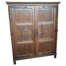 Primitive French Oak Gothic Cabinet,  1920's, Storage, Armoire