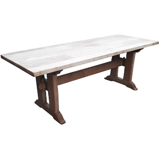 Solid French Country Farm Table, Bleached Oak. 1920's,  Rustic
