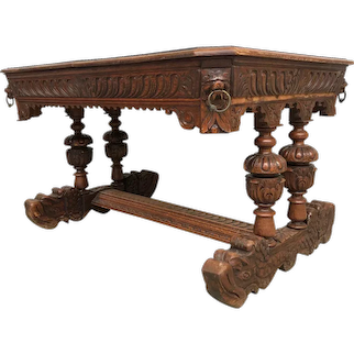Masculine French Dolphin Table, Oak, Dining Table, Writing Desk, 1900's