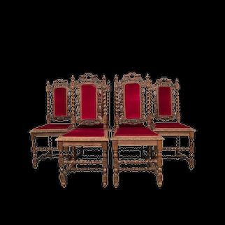 Vibrant Set of Six Hunt Dining Chairs, 19th Century, Oak, Barley Twist