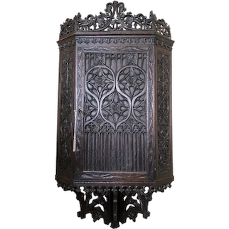 Ornate French Gothic Corner Wall Cabinet,19th Century, Oak, Great Carvings