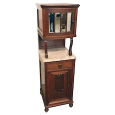 Unusual French Art Deco Cabinet, Marble Top, Narrow, 1930's