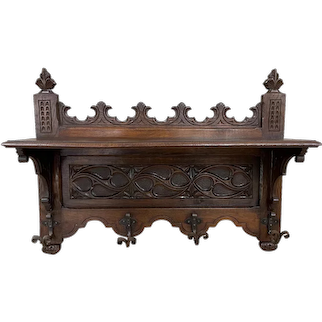 Antique French Gothic Wall Coat Rack, 19th Century, Hat Rack