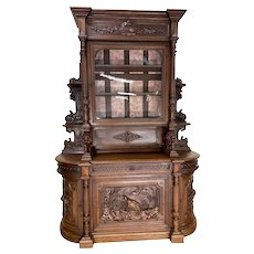 Tall Antique French Hunt Cabinet, Oak, 19th Century, Lion & Bird Carvings