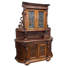 Fantastic French Renaissance Cabinet, Leaded Glass Doors, Dragons, 19th Century, Oak