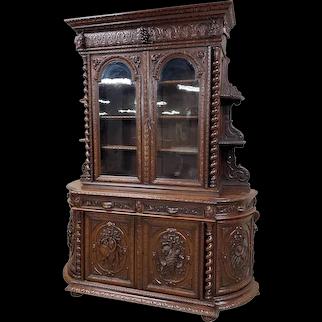 Monumental French Oak Hunt Cabinet, 19th Century, Glass Doors, Barley Twist