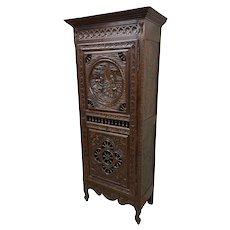 Antique French Breton Storage Cabinet, Single Door, Oak, 19th Century, Narrow