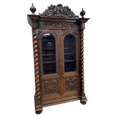 Stunning Antique French Hunt Bookcase, Glass Doors, Dragons, Barley Twist, Walnut