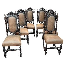 Attractive Set of Six French Hunt Dining Chairs, 19th Century, Oak