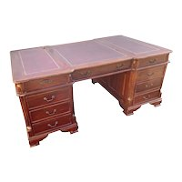 Solid English Mahogany Partners Desk, Vintage 1940's