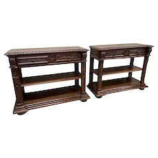Special Matching Pair of French Marble Servers, Oak, Turn of Century