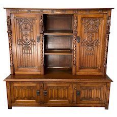 Attractive  French Gothic Cabinet, Dining or Office, 1920's, Oak, Value #11363